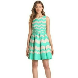 Taylor Chevron Fit & Flare Jacquard Dress